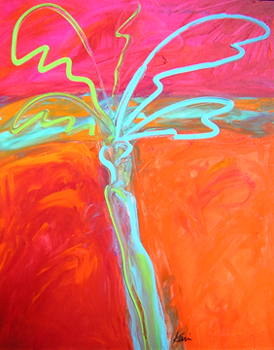 """Fiery Palm #2,"" acrylic, by Peter Karis"